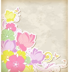 Vintage background with pink and yellow flowers vector image