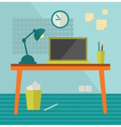 Workplace with moder computer on retro table vector