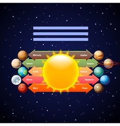 Planets infographics with arrows on starry sky vector image