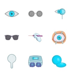 Eyes icons set cartoon style vector