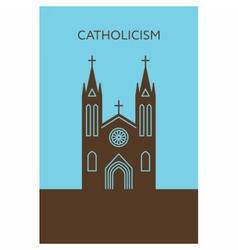 Catholic cathedral icon christianity building vector