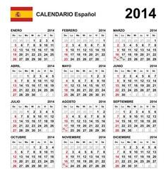 Calendar 2014 Spain Type 21 vector image