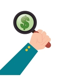hand human with magnifying glass searching money vector image