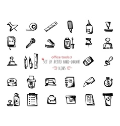 Hand-drawn sketch office tools icon set black on vector