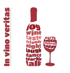 Wine bottle and glass in typography style vector