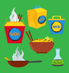 Wok food set asian and chinese food flat style vector