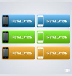 Telephone button installation vector