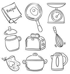 kitchen set of doodles vector image