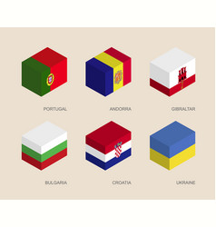 Isometric boxes with flags of european countries vector