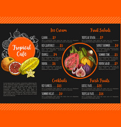 Menu for tropical exotic fruit cafe vector