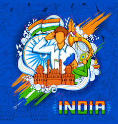 Indian background with people saluting with famous vector