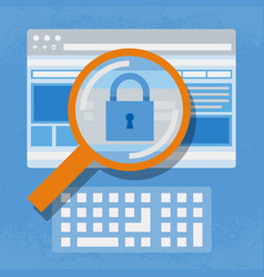 Magnifying website internet security vector
