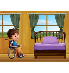 Boy and bedroom vector