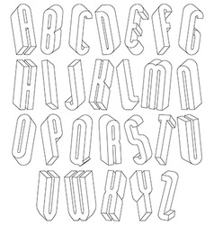 Black and white 3d font made with thin lines vector