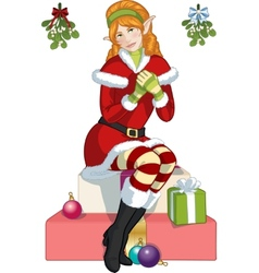 Christmas elf red caucasian girl with mistletoe vector