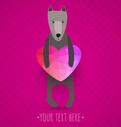 greeting card with cute dog and colorful heart vector image