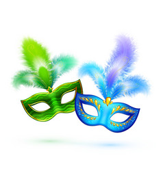 Pair of green and blue masks isolated on vector