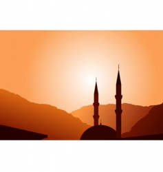 mosque silhouette at sunset vector