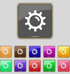 Sun icon sign set with eleven colored buttons for vector