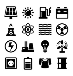 Electricity Energy and Power Icons Set vector image