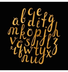 Artistic handdrawn golden font vector