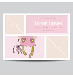 Cute baby girl arrival card - for baby shower vector