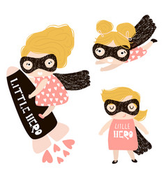 baby girls superhero set isolated on white vector image
