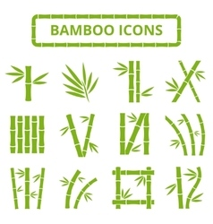Bamboo stalks and leaves icons Asian bambu vector image