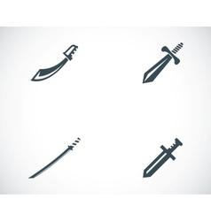 Black sword icons set vector