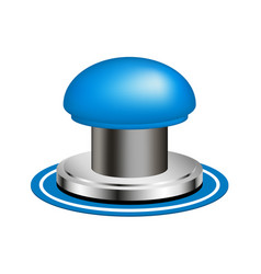 Blue alert push button vector