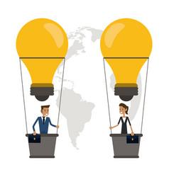 Businesspeopple hot air balloon bulb idea icon vector