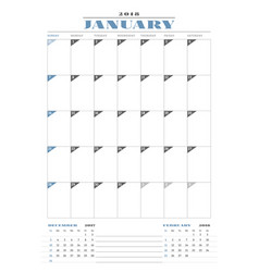 Calendar planner template for 2018 year january vector