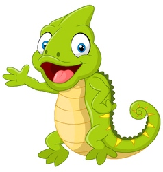 Cartoon cute chameleon waving hand on white backgr vector
