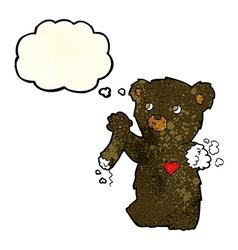 cartoon teddy black bear with torn arm with vector image