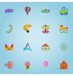 Children park icons set cartoon style vector