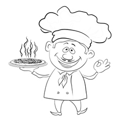 Cook holds a hot pizza contour vector image