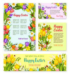 Easter banner template set with egg and flower vector