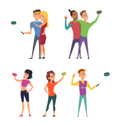 funny characters male and female make selfie vector image vector image