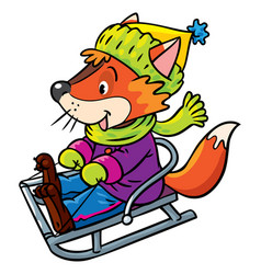 funny fox rides on sleigh or sled vector image
