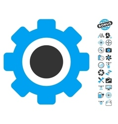 Gear icon with copter tools bonus vector