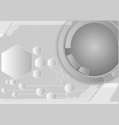 gray abstract hexagon and circle lines background vector image vector image