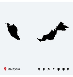 High detailed map of malaysia with navigation pins vector