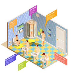 Hygiene bathroom isometric infographics vector