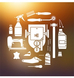 Icons set of furrier tools vector