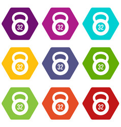 Kettlebell 32 kg icon set color hexahedron vector