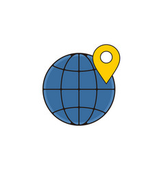 location map globe outline icon vector image