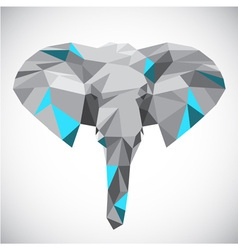 Low polygonal elephant head in popular style vector