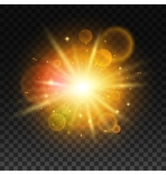 Luminous bright light flash with lens flare vector