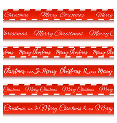 merry christmas red banners set of warning tapes vector image