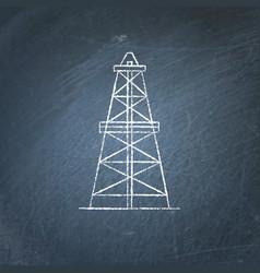 oil derrick icon chalkboard sketch vector image